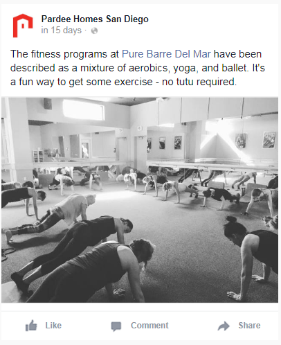 A picture of a yoga class with accompany ad copy above it.